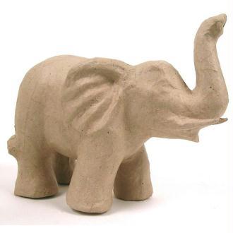 Eléphant trompe en l'air en papier mâché 22 cm