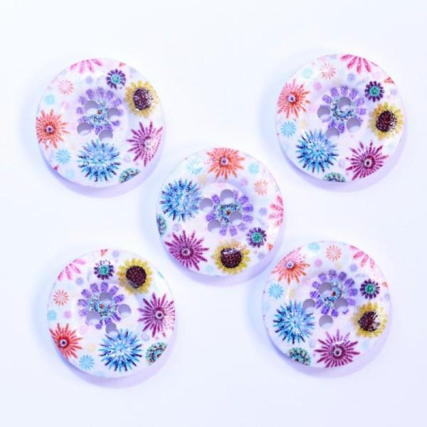 Lot de 10 Bouton en Bois 20mm Imprimé Fleurs avec 2 Trous