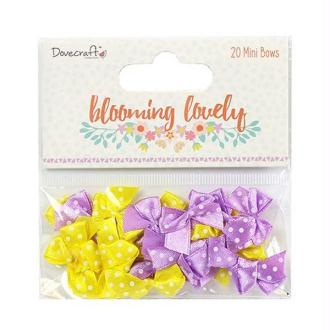 20 noeux en satin Scrapbooking couture 2.5 X 2 cm Dovecraft BLOONING LOVELY