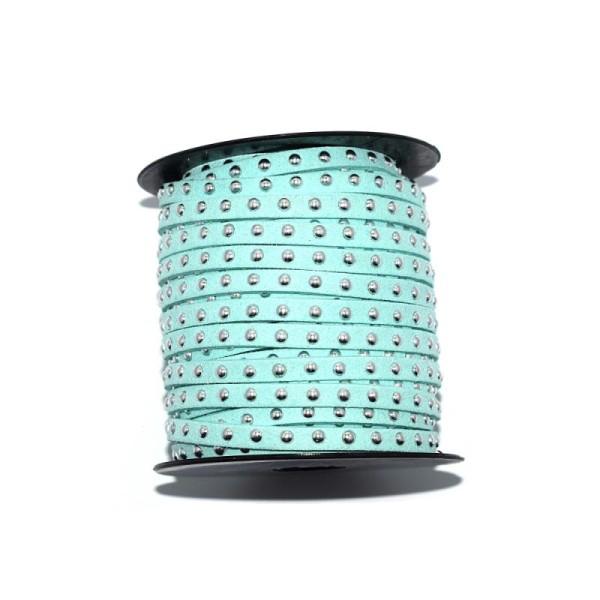 Suédine rivet argenté 5 mm vert d'eau x10 cm - Photo n°1