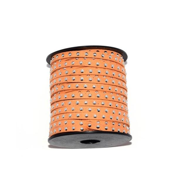 Suédine rivet argenté 5 mm orange x10 cm - Photo n°1