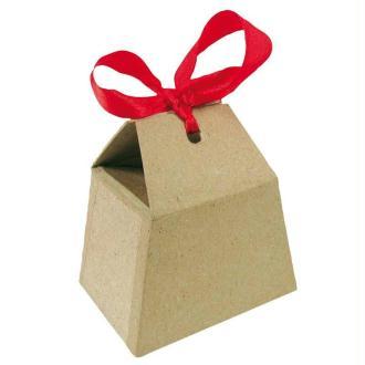 Boite à bonbons en papier mâché avec ruban rouge 7,5 cm