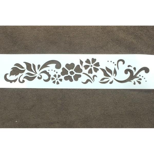 POCHOIR PLASTIQUE vinyle 33 * 7 cm , motif : Frise feuille et fleurs ...