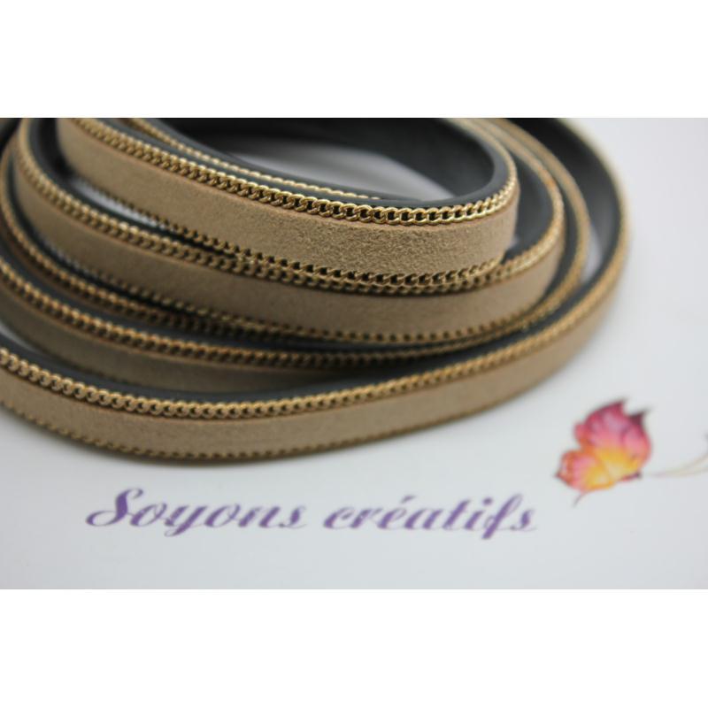 1 m de lani re en cuir et daim marron clair 10mm cr ation bijoux p4302 cordon cuir creavea - Laniere en cuir ...