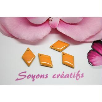 10 Sequins Émaillés Losange Orange 16Mm- Création Bijoux -
