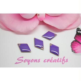 10 Sequins Émaillés Losange Violet 16Mm- Création Bijoux -