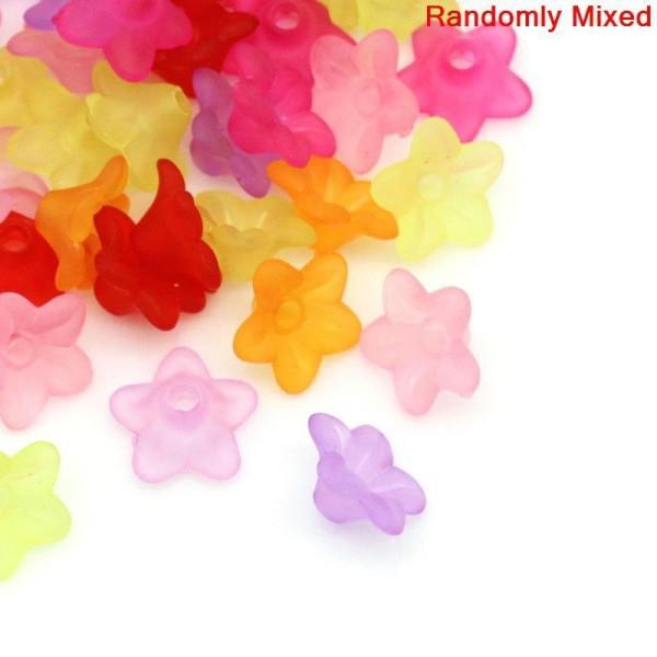 100 Perles Coupelles Acryliques Fleurs 10X4Mm Couleur Mixte -- - Photo n°1