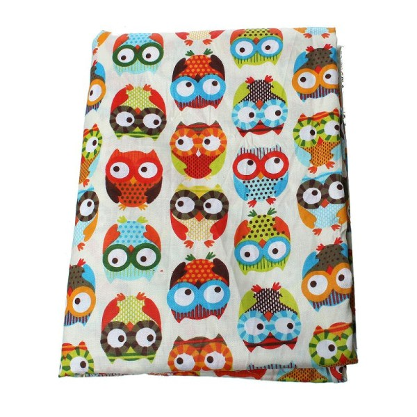 1M Tissus Coton 100% Motif Hibou Chouette - Coupon 160X100Cm - Photo n°1