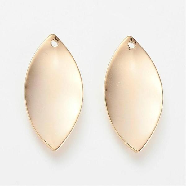 2 Sequins Ovale En Laiton Doré 23X11Mm- Création Bijoux - - Photo n°1