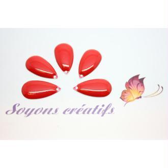4 Sequins Émaillés Goutte Rouge 21X11Mm- Grande Qualité Fabrication Européenne-