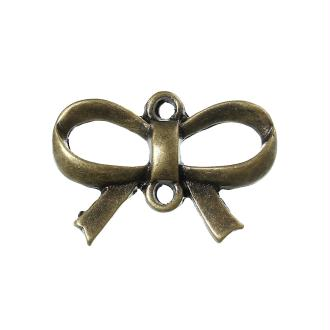 5 Connecteurs Pendentifs Charm Coeur Noeud Bronze 21X14Mm -Création Bijoux- Sc35827-