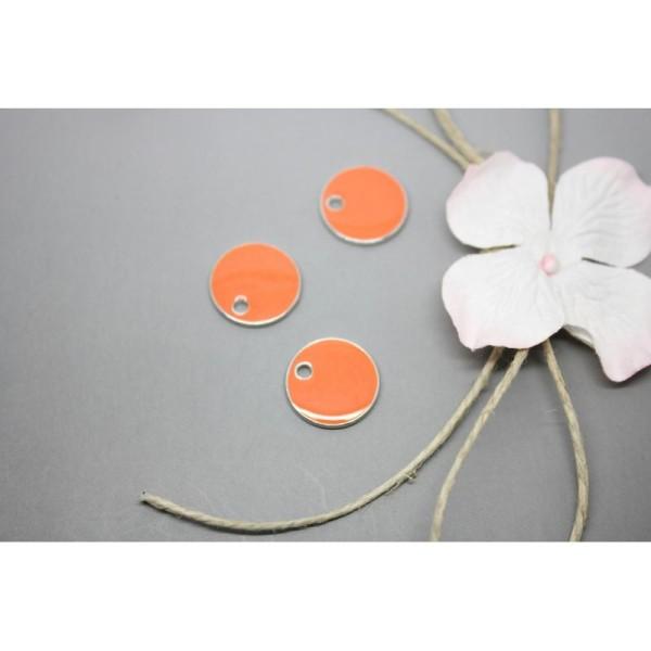5 Sequins Émaillés Rond Orange 16Mm- Création Bijoux-  Sc79399 - Photo n°1