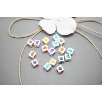 50 Perles Acryliques  Cubes Coeur Multicolores 6Mm -