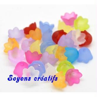 50 Perles Coupelles Acryliques Fleurs 10X7Mm Couleur Mixte