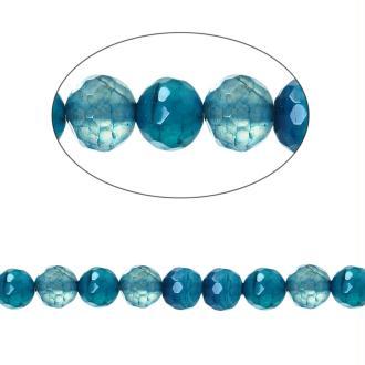 60 Perles Agate Ronde Facette Bleu 6Mm -Sc74480-
