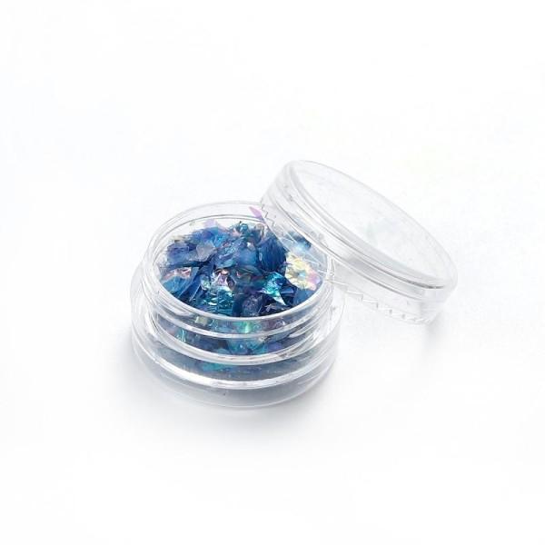 Poudre De Paillette En Papier Coquillage Bleu Pour Inclusion Résine