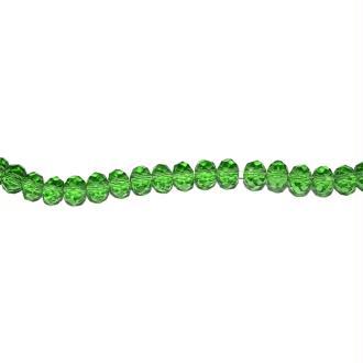 Perle à facettes rondes aplaties 3x4 mm vert foncé transparent x10