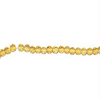 Perle à facettes rondes aplaties 3x4 mm vieux jaune transparent x10