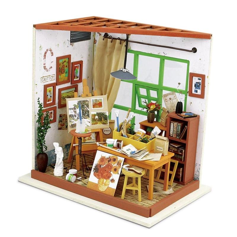studio de peinture ada avec lumi re kit en bois monter kit maquettes bois et cartons creavea. Black Bedroom Furniture Sets. Home Design Ideas