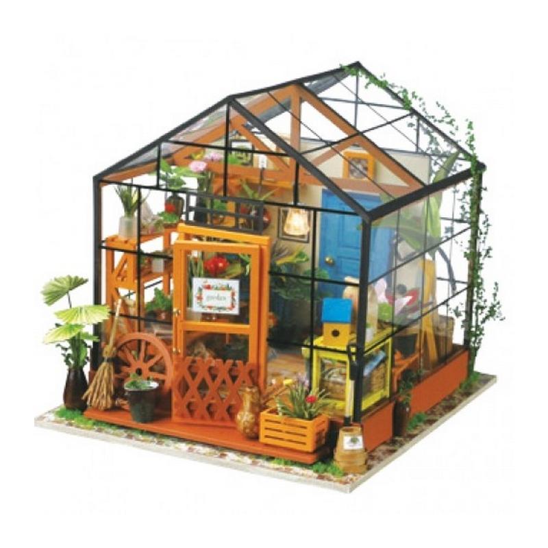 maison des fleurs cathy avec lumi re kit en bois monter kit maquettes bois et cartons. Black Bedroom Furniture Sets. Home Design Ideas