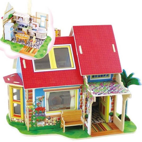 Maison à monter avec détails de la cuisine - 81 pièces - 21,2 x 15,9 x 17,5 cm Robotime - Photo n°1
