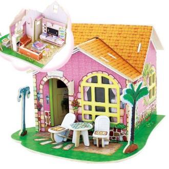 Maison à monter avec détail du living room - Kit en bois à monter