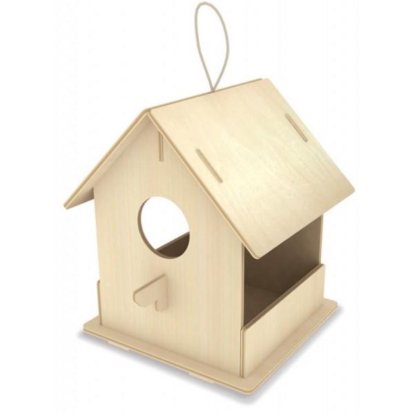 Maison A Oiseaux Avec Mangeoire A Monter 9 Pieces 120 X 135 X 150 Mm Robotime