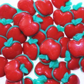 Boutons Pomme à Queue 18mm - Lot de 10 - Rouge