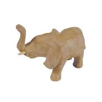 Eléphant trompe en l'air en papier mâché 11 cm