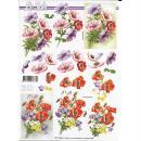 Feuille 3D à découper A4 Fleurs Anémones