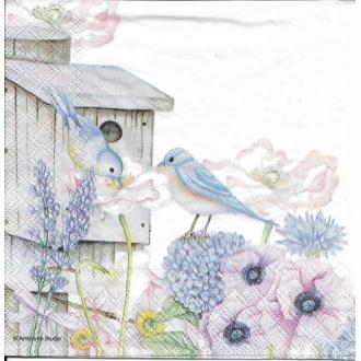 4 Serviettes en papier Nichoir Oiseau Fleurs Format Lunch