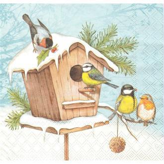 4 Serviettes en papier Nichoir Oiseaux Hiver Format Lunch