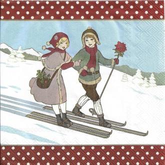 4 Serviettes en papier Alpes Ski Skieurs Format Lunch