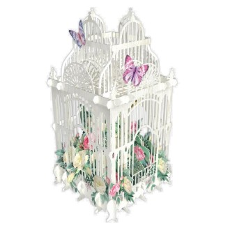 Carte 3D Cage blanche fleurs Roses 16x16 Décor en relief avec enveloppe
