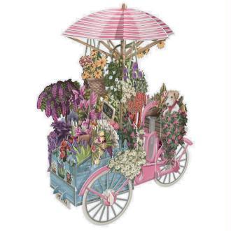 Carte 3D Chariot de Fleurs et Chiens 16x16 Décor en relief avec enveloppe