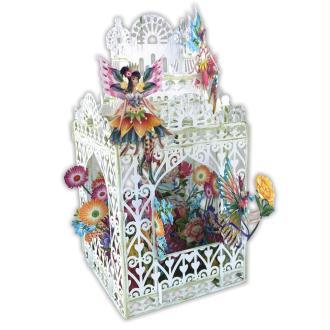 Carte 3D Cage blanche Fées et fleurs 16x16 Décor en relief avec enveloppe