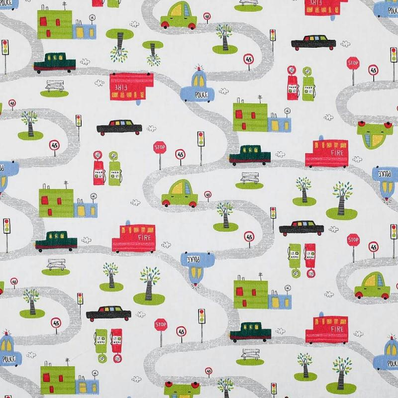 tissu coton route petites voitures par 50cm oeko tex. Black Bedroom Furniture Sets. Home Design Ideas