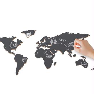 Carte du Monde Ardoise à coller au mur Planisphère Chalkboard 100x46 cm