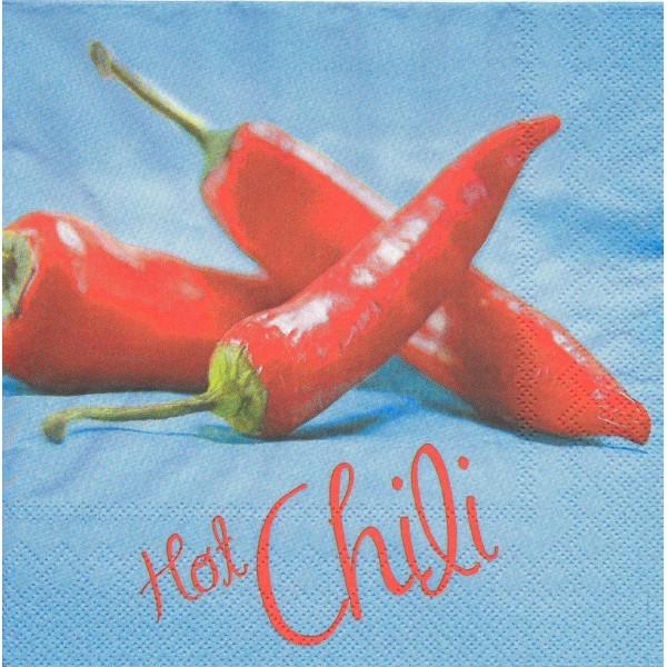 4 Serviettes en papier Piment rouge Hot Chili Format Lunch Decoupage Decopatch LU196140  Sweet Pac - Photo n°1