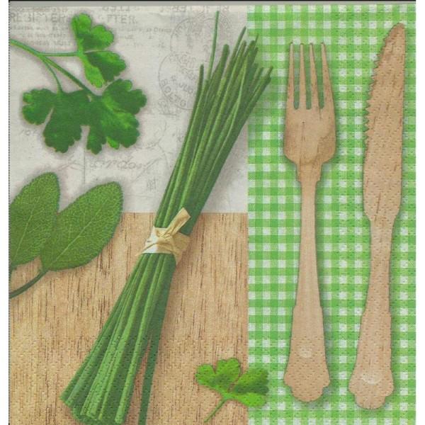 4 Serviettes en papier Cuisine Herbes Ciboulette Vichy Vert Format Lunch - Photo n°1