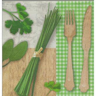 4 Serviettes en papier Cuisine Herbes Ciboulette Vichy Vert Format Lunch