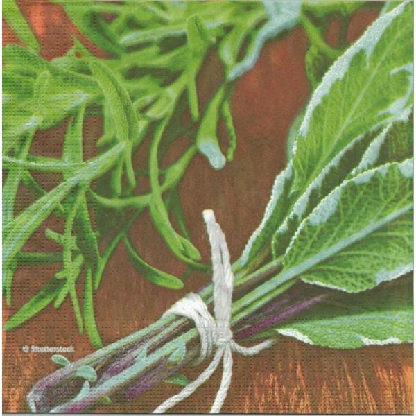 4 Serviettes en papier Herbes Sauge Format Lunch - Photo n°1