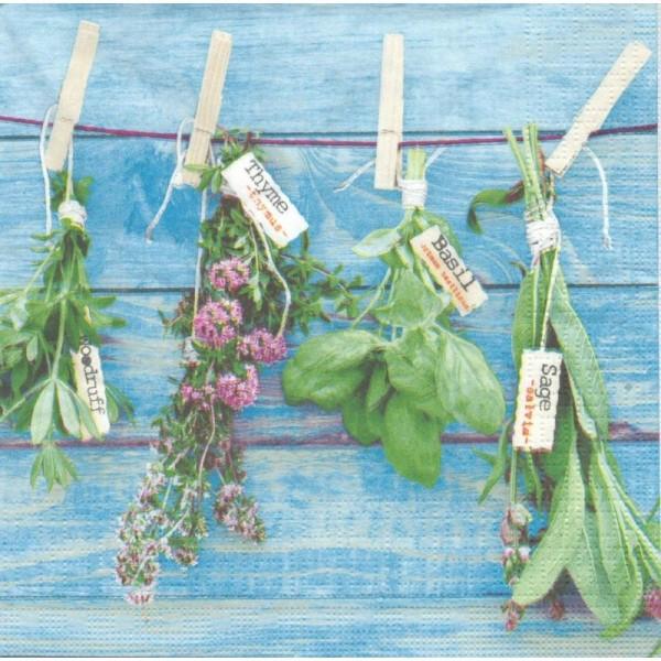4 Serviettes en papier Herbes Sauge Basilic Thym Format Lunch - Photo n°1