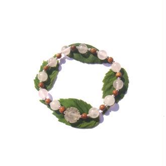 Quartz rose et Bois de Bayong : Bracelet élastique 18,5 à 21,5 CM