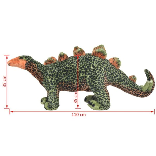 Vidaxl Jouet En Peluche Dinosaure Stegosaurus Vert Et Orange Xxl - Photo n°4