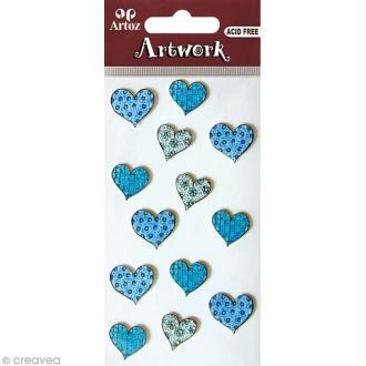 Sticker 3D - Coeur tacheté bleu x 13