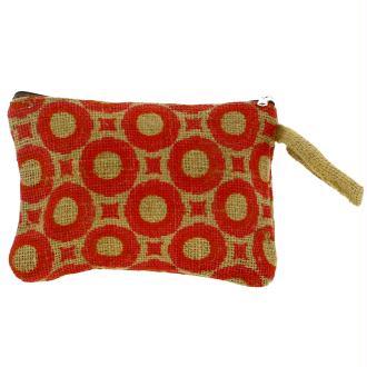 Pochette en jute naturelle taille M - Cercles et carrés - Rouge - 22 x 16 cm