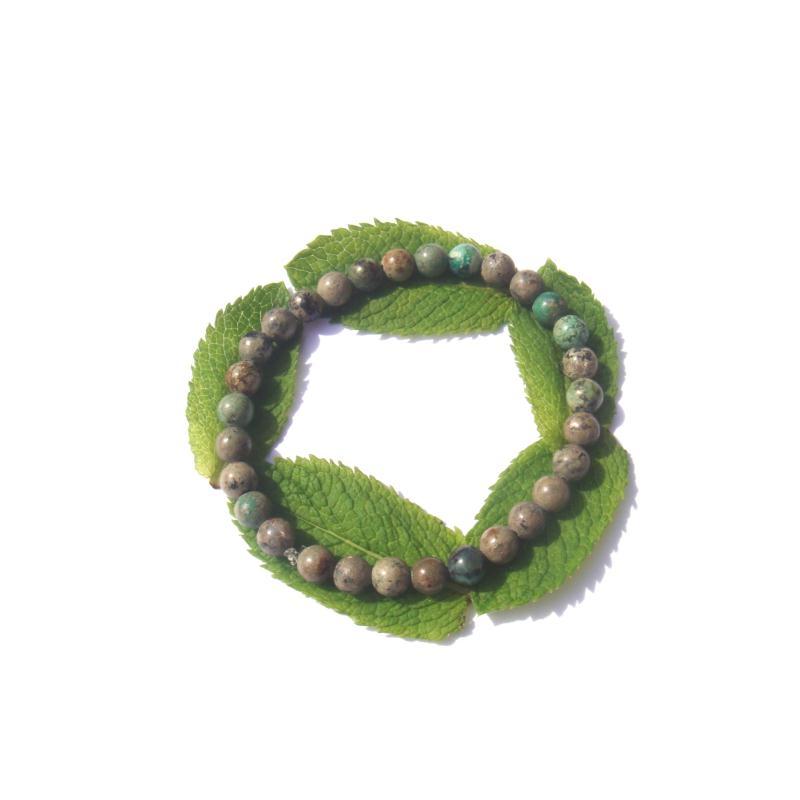 Bracelet turquoise africaine sur fil lastique 18 cm 20 cm environ bracelet lithoth rapie - Fil elastique pour bracelet ...