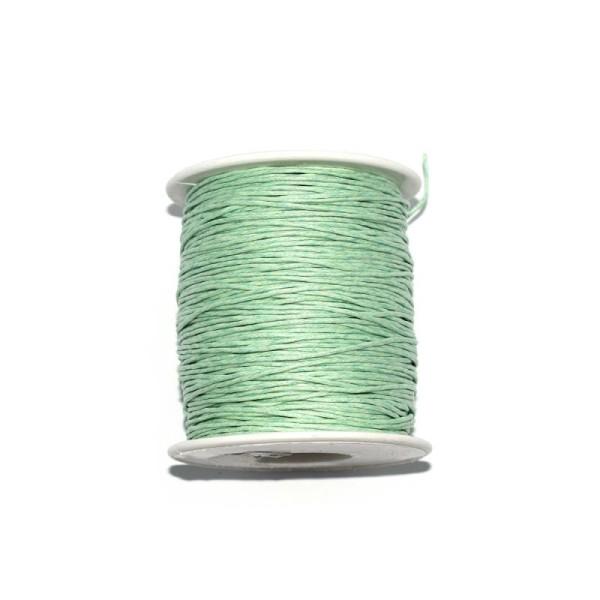 Coton ciré 1 mm vert menthe x1 m - Photo n°1