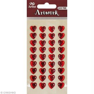 Strass autocollant ArtWork - Coeur rouge 10 mm x 36
